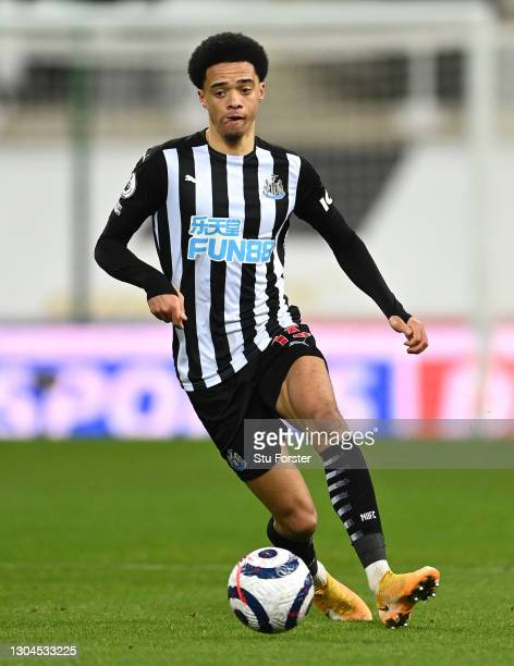 Newcastle player Jamal Lewis in action during the Premier League match between Newcastle United and Wolverhampton Wanderers at St. James Park on...