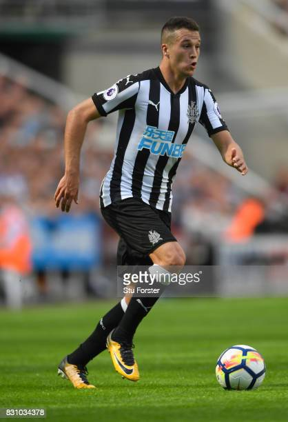 Newcastle player Javier Manquillo in action during the Premier League match between Newcastle United and Tottenham Hotspur at St James Park on August...