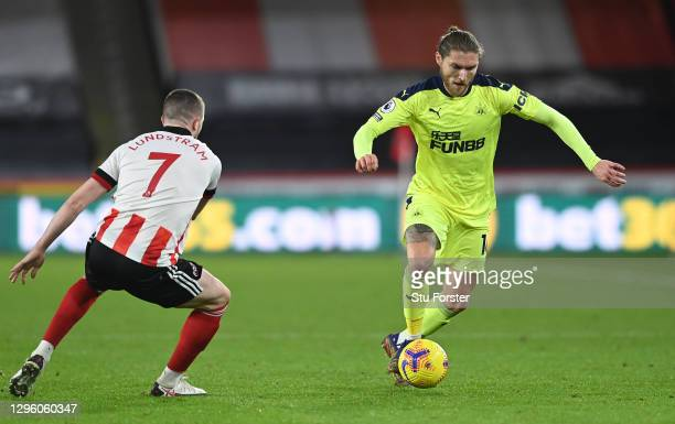 Newcastle player Jeff Hendrick in action during the Premier League match between Sheffield United and Newcastle United at Bramall Lane on January 12,...
