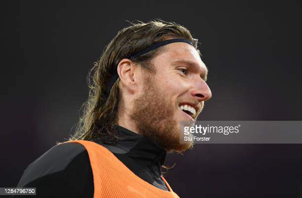 Newcastle player Jeff Hendrick smiles during the Premier League match between Southampton and Newcastle United at St Mary's Stadium on November 06,...