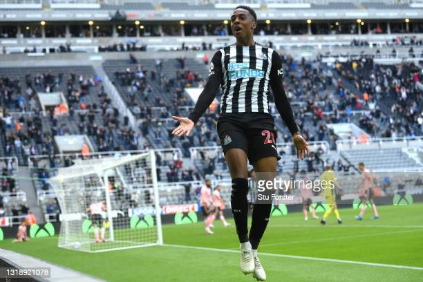 Newcastle player Joe Willock celebrates after scoring the winning goal during the Premier League match between Newcastle United and Sheffield United...
