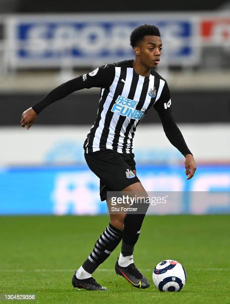 Newcastle player Joe Willock in action during the Premier League match between Newcastle United and Wolverhampton Wanderers at St. James Park on...