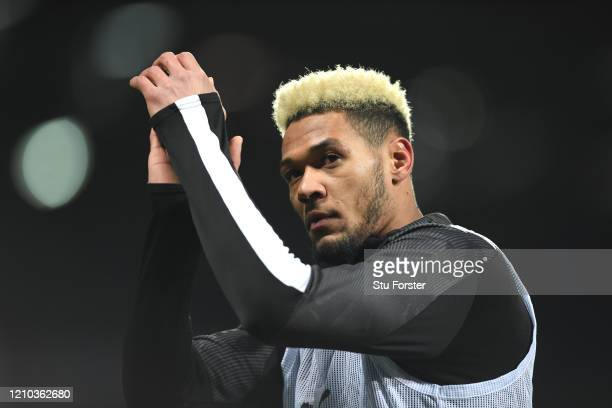 Newcastle player Joelinton looks on during the warm up prior to the FA Cup Fifth Round match between West Bromwich Albion and Newcastle United at The...
