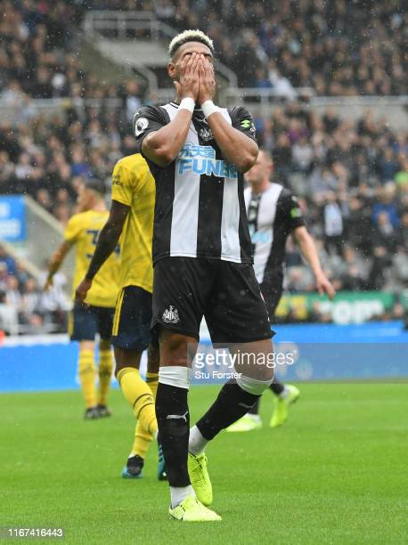 Newcastle player Joelinton reacts after a near miss during the Premier League match between Newcastle United and Arsenal FC at St. James Park on...