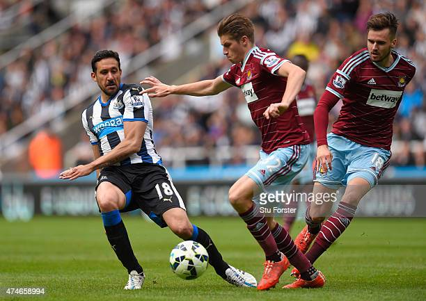 Newcastle player Jonas Gutierrez in action during the Barclays Premier League match between Newcastle United and West Ham United at St James' Park on...
