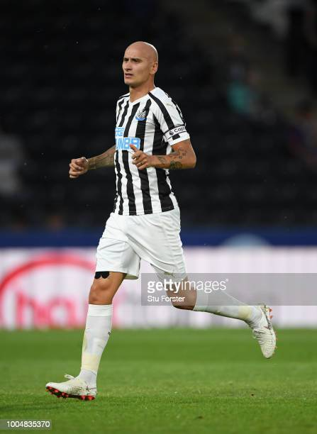 Newcastle player Jonjo Shelvey in action during a preseason friendly match between Hull City and Newcastle United at KCOM Stadium on July 24 2018 in...