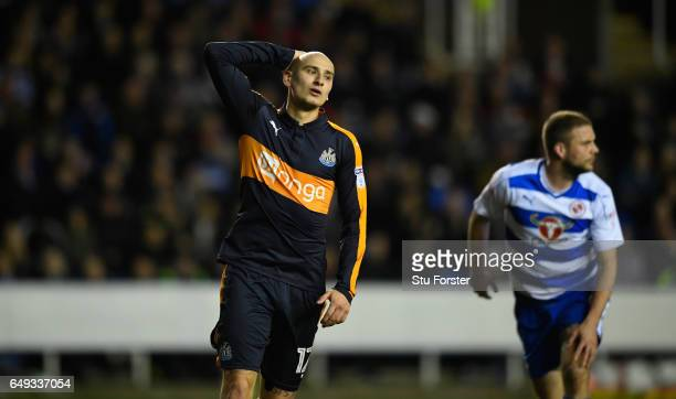 Newcastle player Jonjo Shelvey reacts after his shot is saved during the Sky Bet Championship match between Reading and Newcastle United at Madejski...