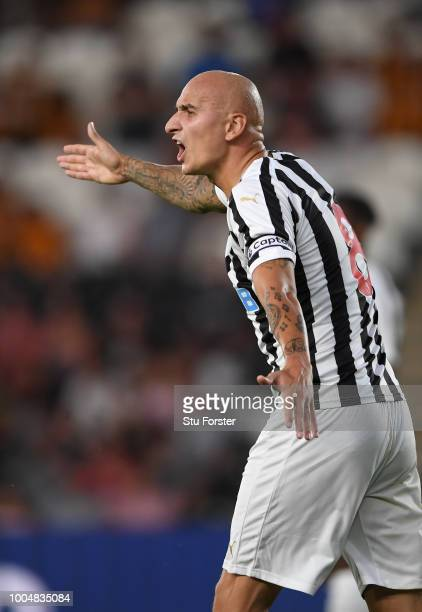 Newcastle player Jonjo Shelvey reacts during a preseason friendly match between Hull City and Newcastle United at KCOM Stadium on July 24 2018 in...