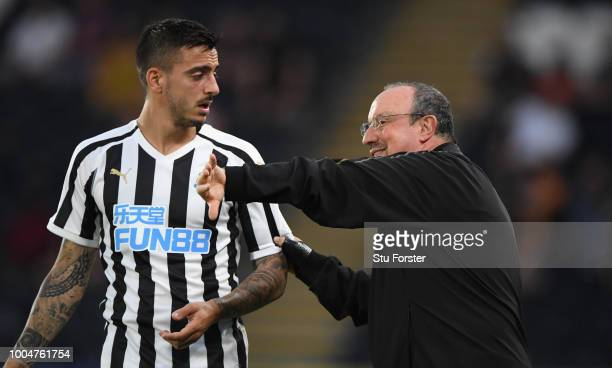 Newcastle player Joselu and manager Rafa Benitez in discussion during a preseason friendly match between Hull City and Newcastle United at KCOM...