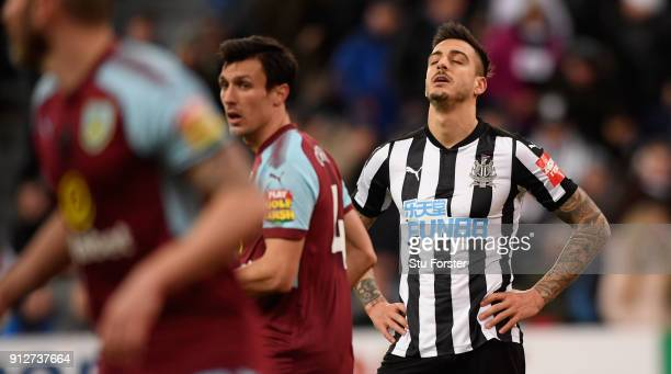 Newcastle player Joselu reacts after missing a penalty during the Premier League match between Newcastle United and Burnley at St James Park on...