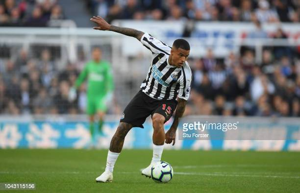 Newcastle player Kenedy in action during the Premier League match between Newcastle United and Leicester City at St James Park on September 29 2018...