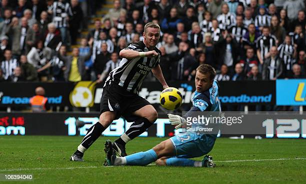 Newcastle player Kevin Nolan right scores the second goal during the Barclays Premier League match between Newcastle United and Sunderland at St...