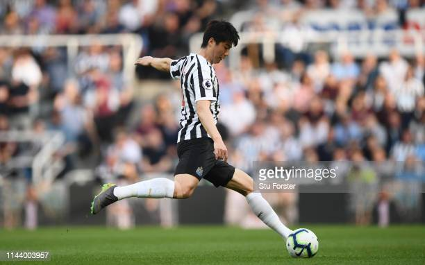 Newcastle player Ki Sungyueng in action during the Premier League match between Newcastle United and Southampton FC at St James Park on April 20 2019...