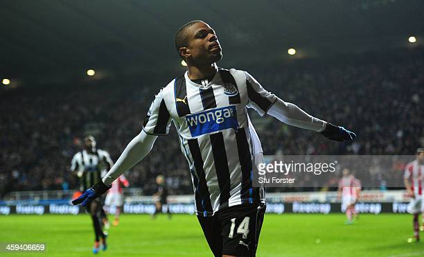 Newcastle player Loic Remy celebrates after scoring the third goal during the Barclays Premier League match between Newcastle United and Stoke City...