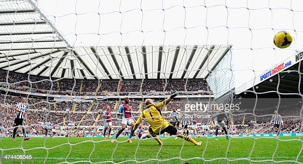 Newcastle player Loic Remy scores the winning goal past Brad Guzan during the Barclays Premier League match between Newcastle United and Aston Villa...