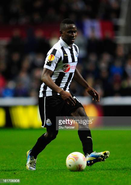 Newcastle player Mapou Yanga-Mbiwa in action during the UEFA Europa League Round of 32 first leg match between Newcastle United and FC Metalist...