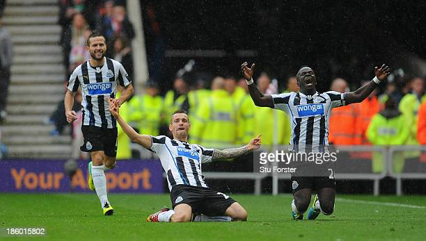 Newcastle player Mathieu Debuchy celebrates his goal uring the Barclays Premier League match between Sunderland and Newcastle United at Stadium of...