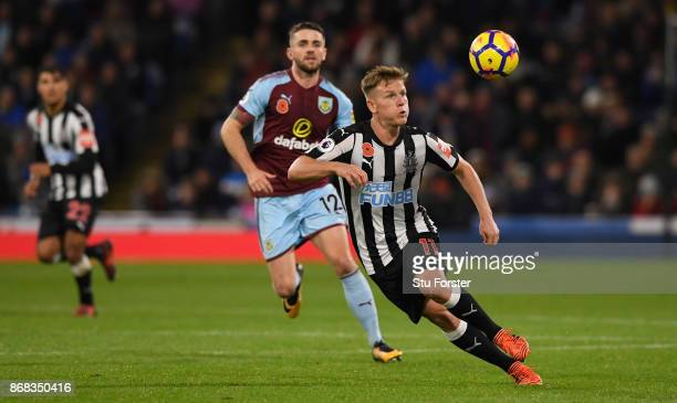 Newcastle player Matt Ritchie in action during the Premier League match between Burnley and Newcastle United at Turf Moor on October 30 2017 in...