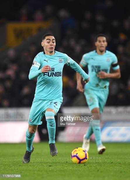Newcastle player Miguel Angel Almiron in action on his debut during the Premier League match between Wolverhampton Wanderers and Newcastle United at...