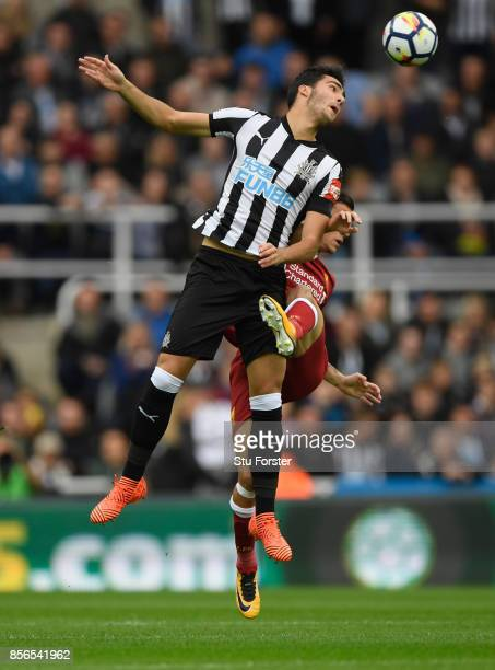 Newcastle player Mikel Merino in action during the Premier League match between Newcastle United and Liverpool at St James Park on October 1 2017 in...