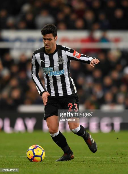 Newcastle player Mikel Merino in action during the Premier League match between Newcastle United and Manchester City at St James' Park on December 27...