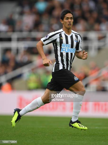 Newcastle player Muto in action during the Premier League match between Newcastle United and Arsenal FC at St. James Park on September 15, 2018 in...