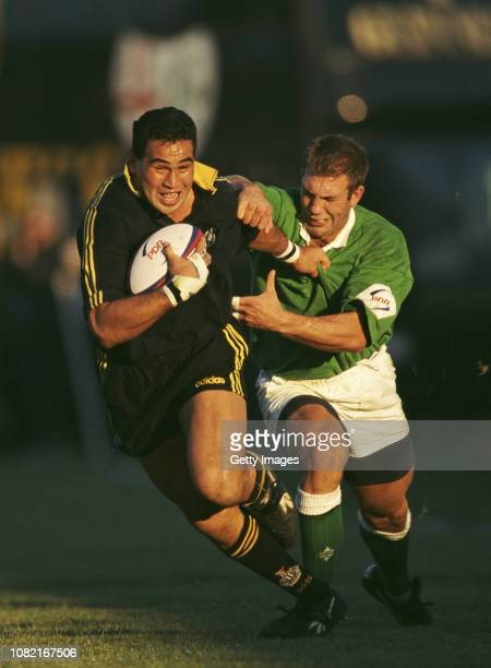 Newcastle player Pat Lam breaks a tackle during an Allied Dunbar Premiership match between London Irish and Newcastle at the Avenue Sunbury England...