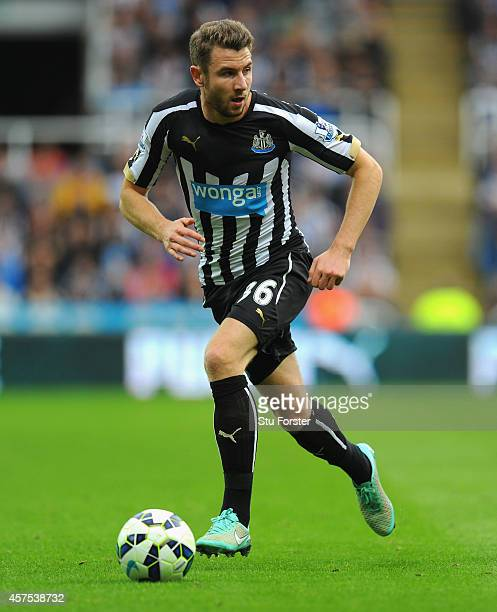 Newcastle player Paul Dummett in action during the Barclays Premier League match between Newcastle United and Leicester City at St James' Park on...