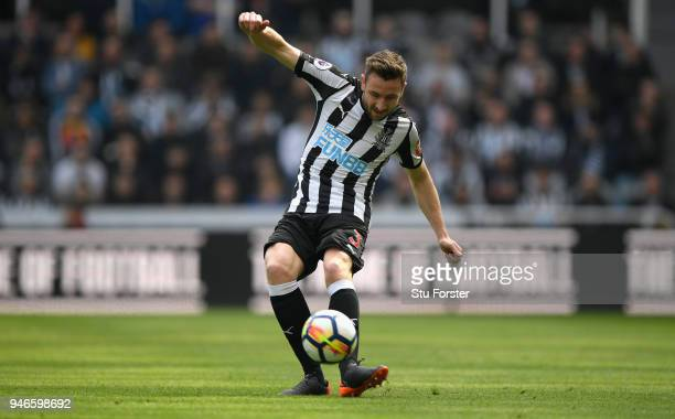 Newcastle player Paul Dummett in action during the Premier League match between Newcastle United and Arsenal at St James Park on April 15 2018 in...