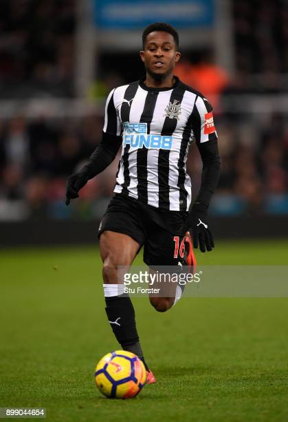 Newcastle player Rolando Aarons during the Premier League match between Newcastle United and Manchester City at St James' Park on December 27 2017 in...