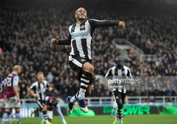 Newcastle player Yoan Gouffran celebrates after scoring the opening goal for Newcastle during the Sky Bet Championship match between Newcastle United...