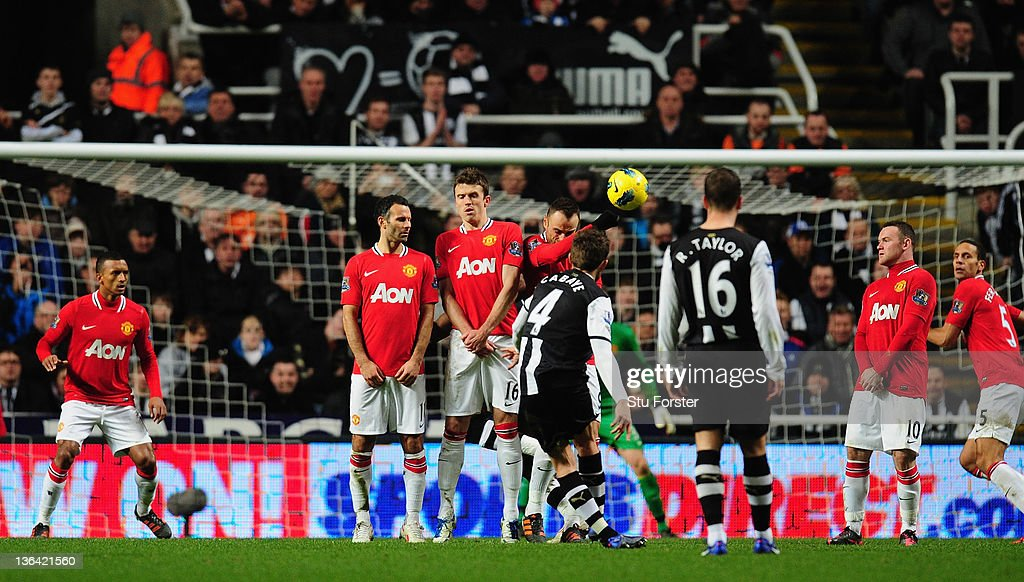 Newcastle player Yohan Cabaye scores the second goal during the Barclays Premier league game between Newcastle United and Manchester United at St James' Park on January 4, 2012 in Newcastle upon Tyne, England.