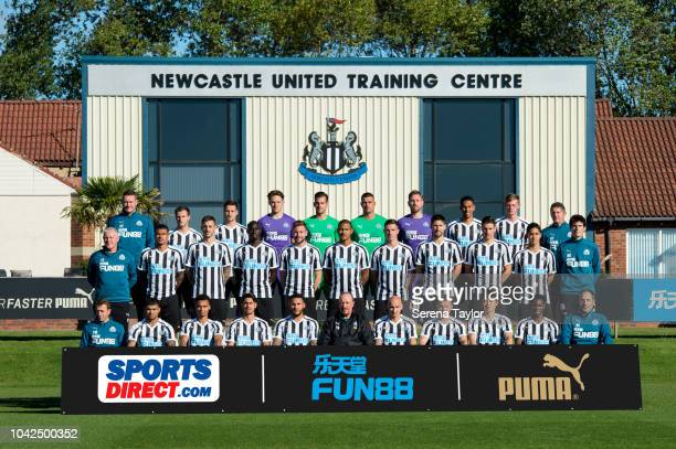 Newcastle Players and Senior staff pose for this season's Team Photo As seen LR Front row Newcastle United Assistant Manager Francisco De Miguel...