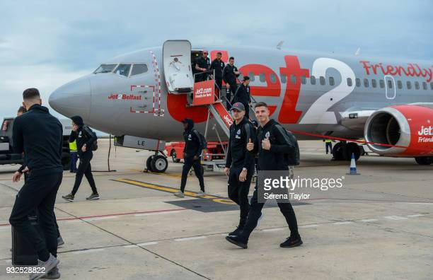 Newcastle Players arrive at Murcia Airport during warm weather training camp on March 15 in Alicante Spain