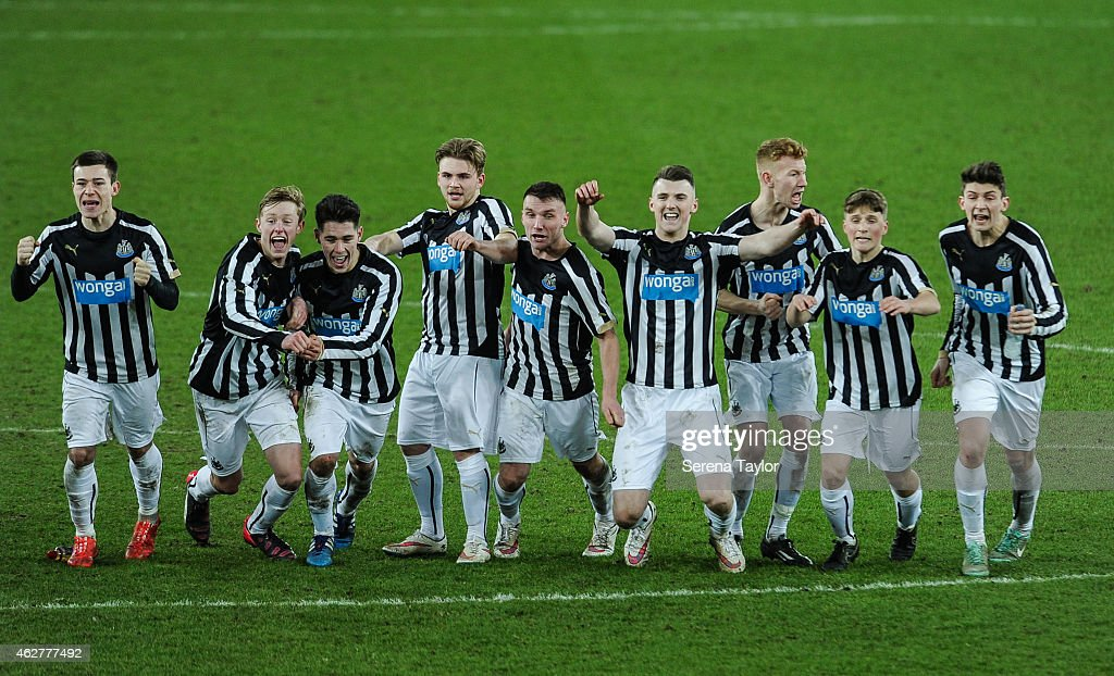 Newcastle players (seen L-R) Callum Roberts, Sean Longstaff, Ben Pollock, Mackenzie Heaney, Adam Laidler, Kyle Cameron, Michael Newberry, Stefan Broccoli and Jamie Cobain celebrate after winning the FA Youth Cup Round 5 match in a penalty shoot out between Sunderland AFC and Newcastle United at The Stadium of Light on February 04, 2015, in Sunderland, England.