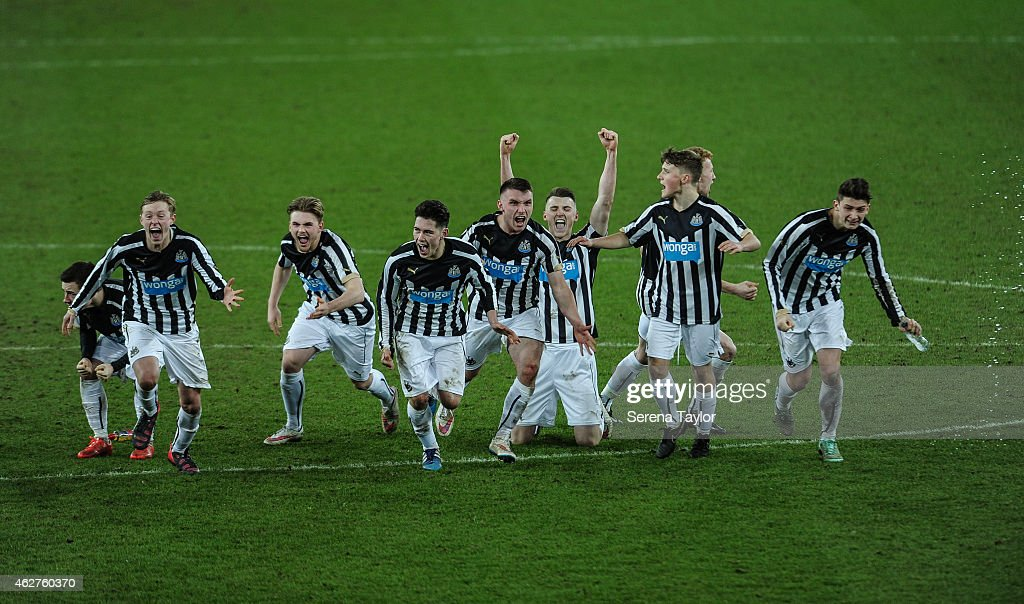 Newcastle players (seen L-R) Callum Roberts (Partially Hidden) Sean Longstaff, Mackenzie Heaney, Ben Pollock, Adam Laidler, Kyle Cameron, Stefan Broccoli, , Michael Newberry and Jamie Cobain celebrate after winning the FA Youth Cup Round 5 match between Sunderland AFC and Newcastle United at The Stadium of Light on February 04, 2015, in Sunderland, England.