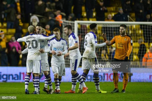 Newcastle players celebrates to fans after Newcastle win the Sky Bet Championship match between Wolverhampton Wanderers and Newcastle United at...