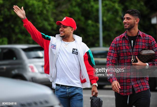 Newcastle players DeAndre Yedlin and Achraf Lazaar return to the Newcastle United Training Session at the Newcastle United Training Centre on July 3...