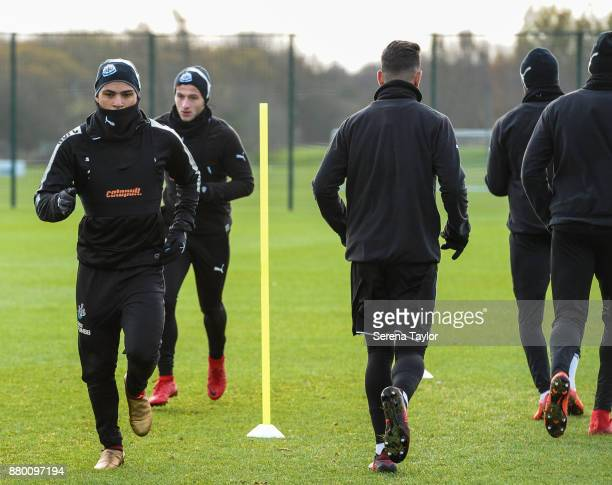 Newcastle players DeAndre Yedlin and Jamie Sterry warm up during the Newcastle United training session at the Newcastle United Training Centre on...