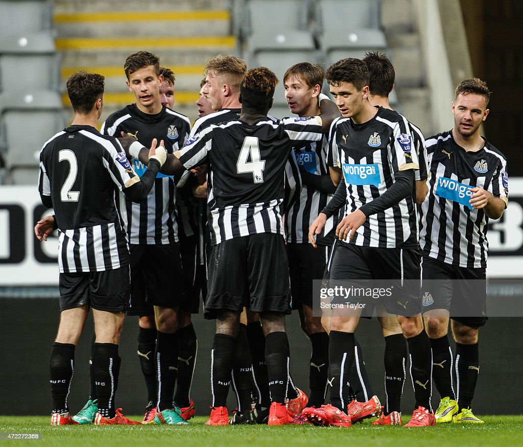 Newcastle players (Seen L-R) Jamie Sterry, Lubomir Satka, Adam Laidler (partially hidden) Callum Williams,, Olivier Kemen, Liam Smith, Alex Gilliead, Facundo Ferreyra and Adam Armstrong celebrate after Callum Roberts (4th from left) scores Newcastle's third goal during the Under 21 Premier League match between Newcastle United and Blackburn Rovers at St. James' Park on May 5, 2015, in Newcastle upon Tyne, England, United Kingdom.