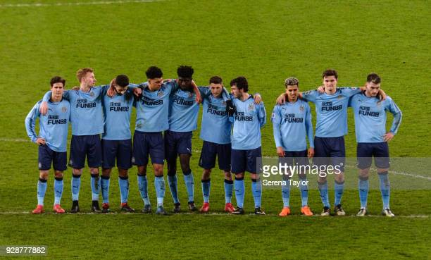 Newcastle players line up for the penalty shoot out during the Premier League International Cup between Sunderland and Newcastle United at the...