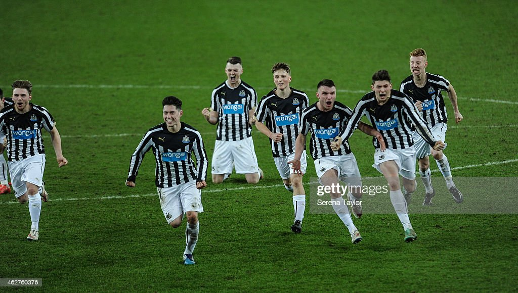 Newcastle players (seen L-R) Mackenzie Heaney, Ben Pollock, Kyle Cameron, Stefan Broccoli, Adam Laidler, Jamie Cobain and Michael Newberry celebrate after winning the FA Youth Cup Round 5 match between Sunderland AFC and Newcastle United at The Stadium of Light on February 04, 2015, in Sunderland, England.