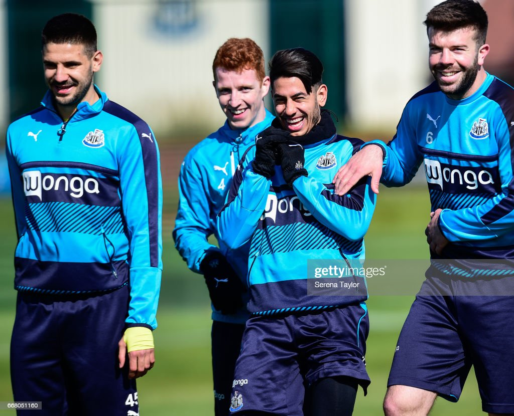 Newcastle players seen L-R Aleksandar Mitrovic, Jack Colback, Ayoze Perez and Grant Hanley laugh during the Newcastle United Training Session at The Newcastle United Training Centre on April 13, 2017 in Newcastle upon Tyne, England.