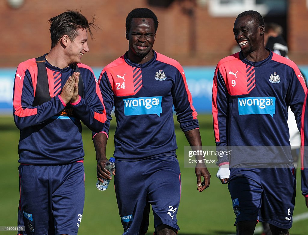 Newcastle Players seen L-R Florian Thauvin, Cheick Tiote and Papiss Cisse walk out to start a Newcastle United Training session at The Newcastle United Training Centre on October 2, 2015, in Newcastle upon Tyne, England.