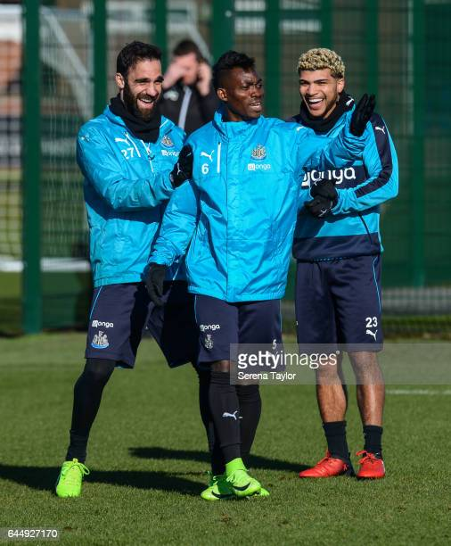 Newcastle players seen L-R Jesus Gamez, Christian Atsu and DeAndre Yedlin laugh during the Newcastle United Training Session at The Newcastle United...