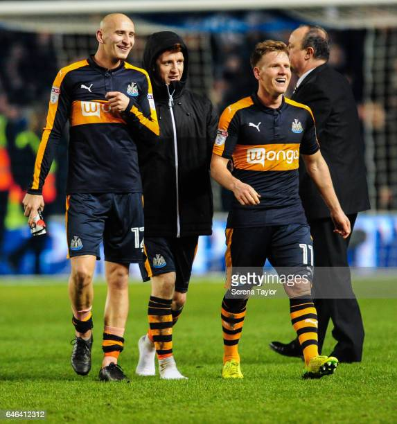 Newcastle players seen LR Jonjo Shelvey Jack Colback and Matt Ritchie walk off the pitch smiling as Newcastle win the Sky Bet Championship Match...