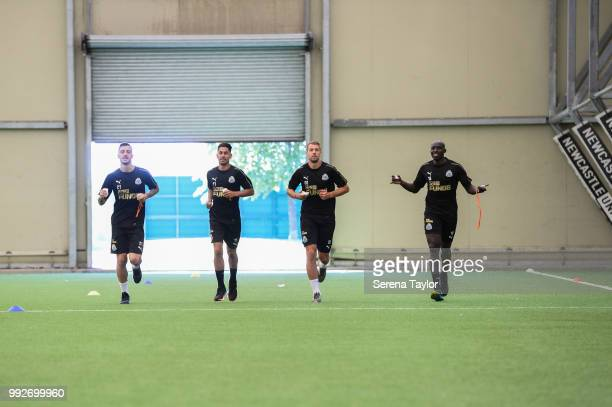 Newcastle players seen LR Joselu Ayoze Perez Florian Lejeune and Mohamed Diame under go testing during the first team training session at The...