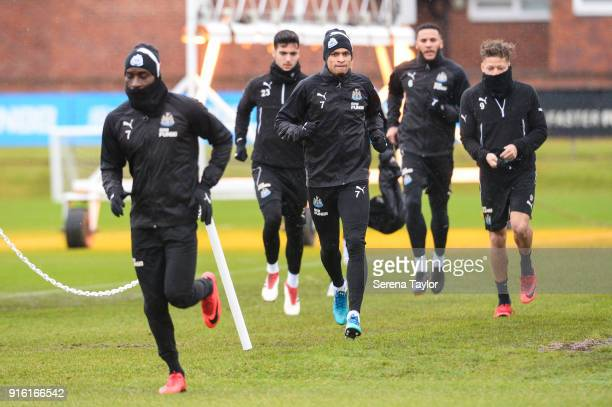 Newcastle players seen LR Massadio Haidara Mikel Merino Jacob Murphy Jamaal Lascelles and Dwight Gayle all run outside to start the Newcastle United...