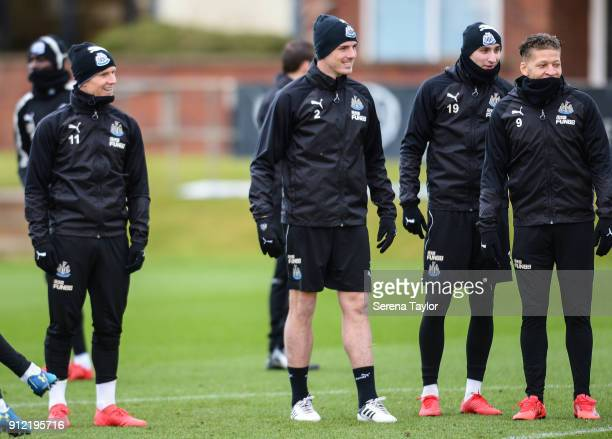 Newcastle players seen LR Matt Ritchie Ciaran Clark Jonjo Shelvey and Dwight Gayle smile during The Newcastle United Training session at The...