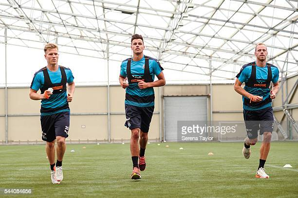 Newcastle players seen LR Matt Ritchie Karl Darlow and Matz Sels warm up during fitness testing on the first day back at The Newcastle United...